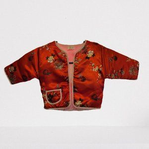 A VINTAGE CHILD'S ASIAN STYLE PUFFED SILKY JACKET